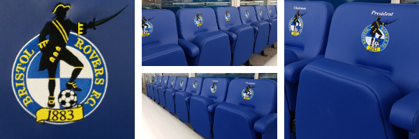 Close up of branded upholstered stadium seating at Bristol Rovers