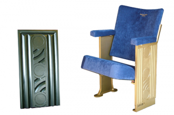 Reproduction metal casting showing before and after used on end panels of restored cinema seats