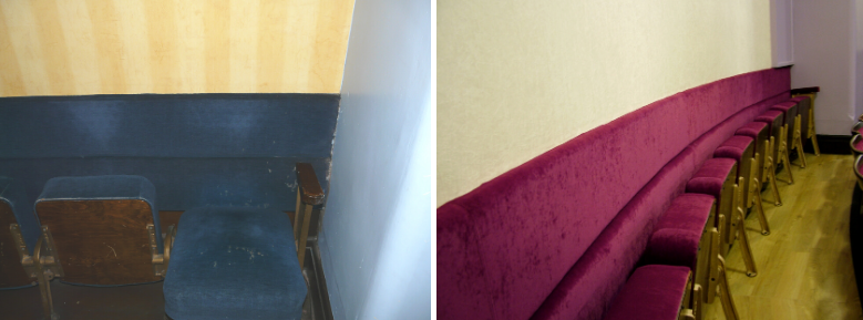Back row of auditorium seating with continuous upholstered panel along back wall shown before and after refurbishment