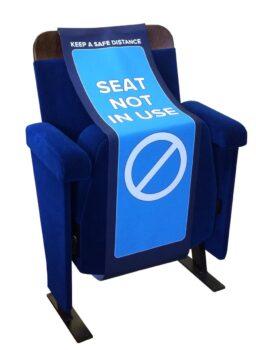 Evertaut Social Distancing Seat Cover on Ambassador Auditorium Seat