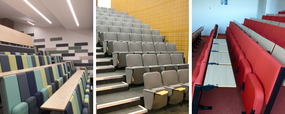Range of university lecture chairs with different style desks