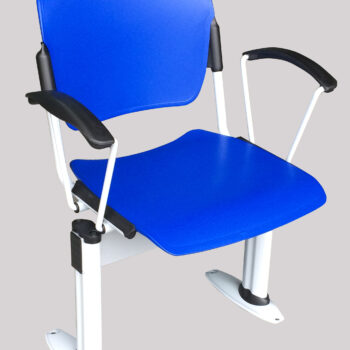 Social distancing chair with blue plastic seat and back, white frame and arms
