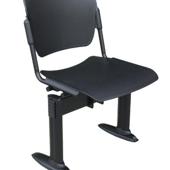 Social distancing chair with black metal frame and black plastic seat and back with floor fixing legs
